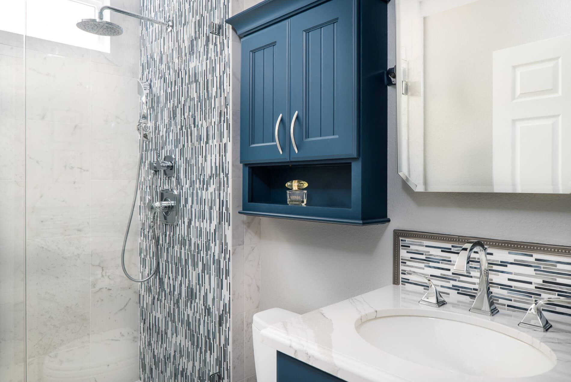 Master Bathroom Storage Design, Bathroom Storage Design, Blue Powder Bathroom Design