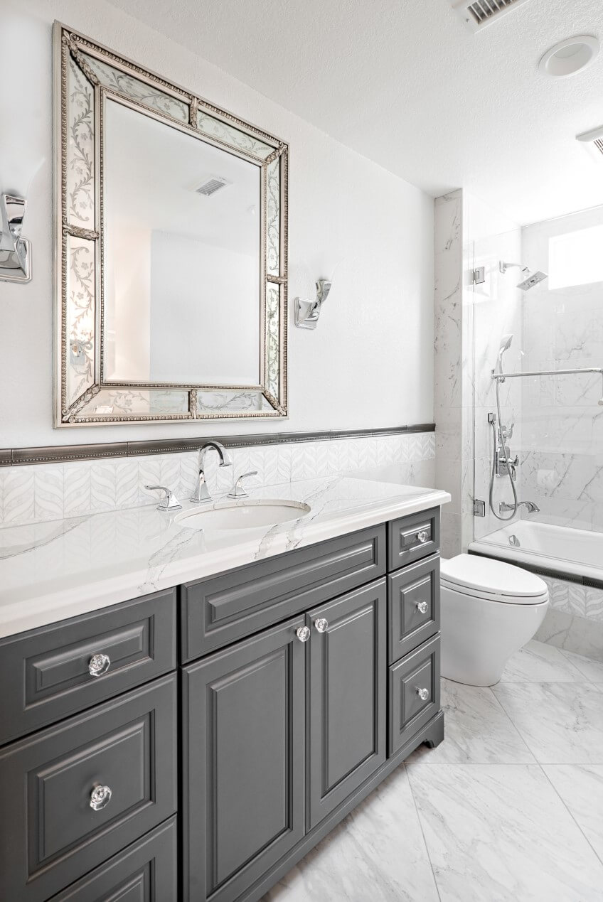 White and Gray Master Bathroom Design, Master Bathroom Makeover, Design Build Orange County