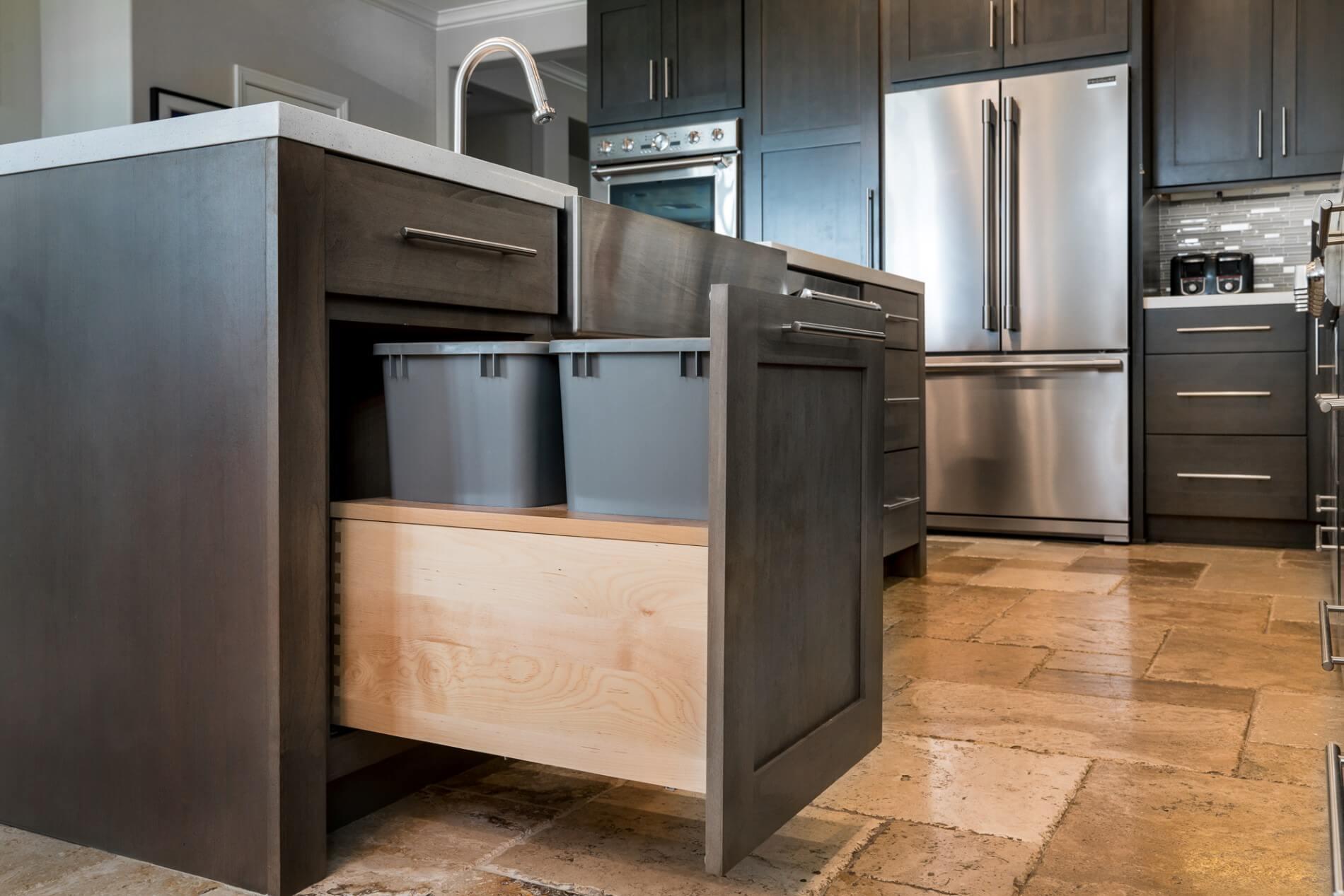 Double Trash Pull Out, Custom Kitchen Design, Modern Kitchen Remodel Orange County