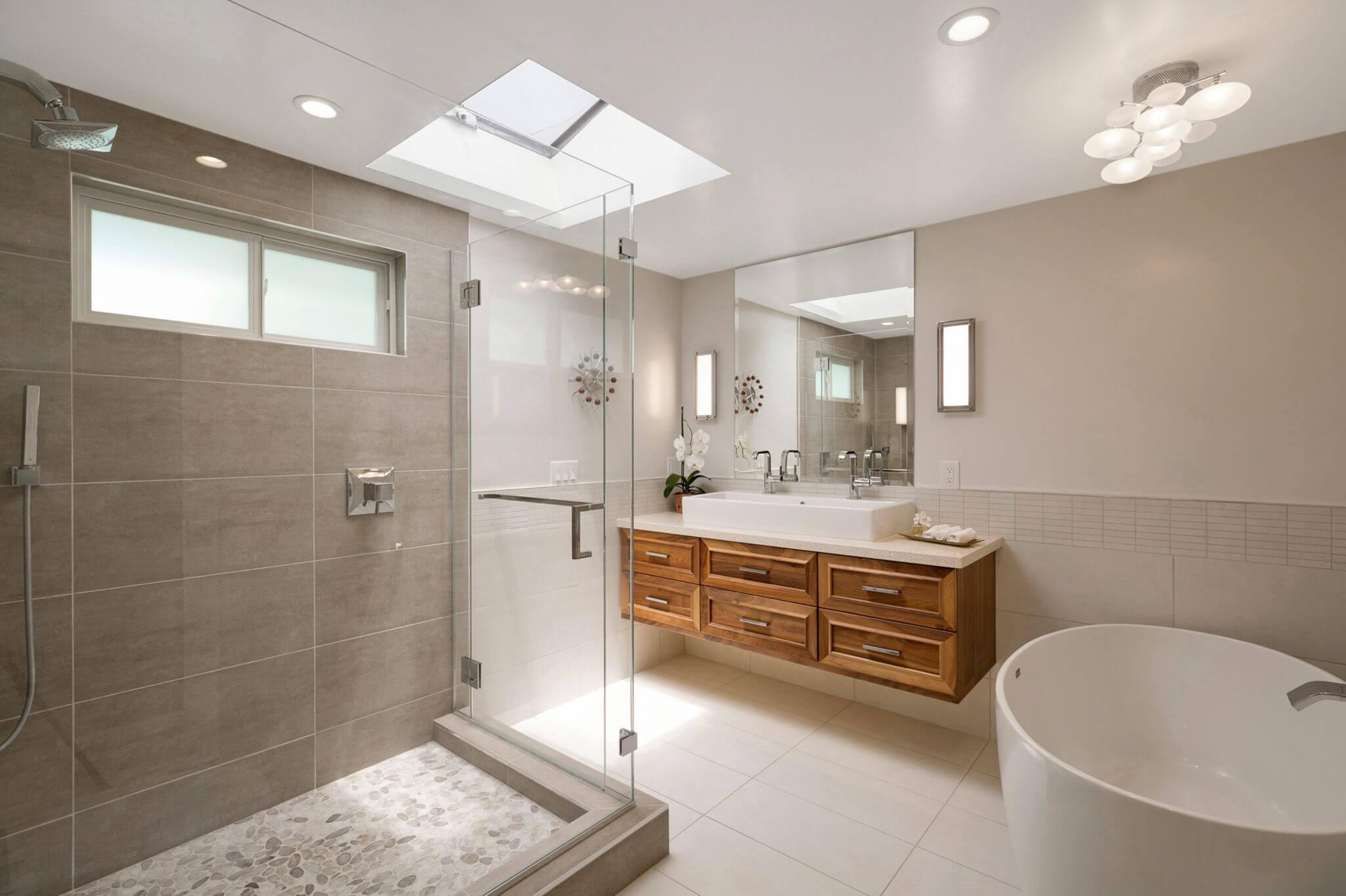 Master Bathroom Remodel Orange County, Master Bathroom Floating Vanity, Transitional Master Bathroom Design