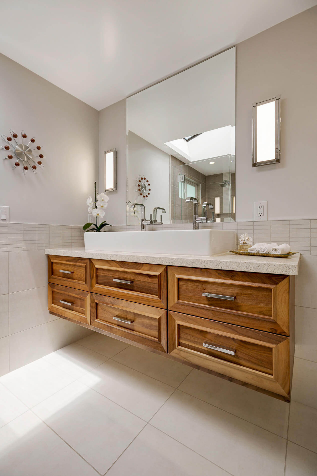 Master Bathroom Floating Vanity, Natural Wood Master Bathroom Vanity, Master Bathroom Home Design