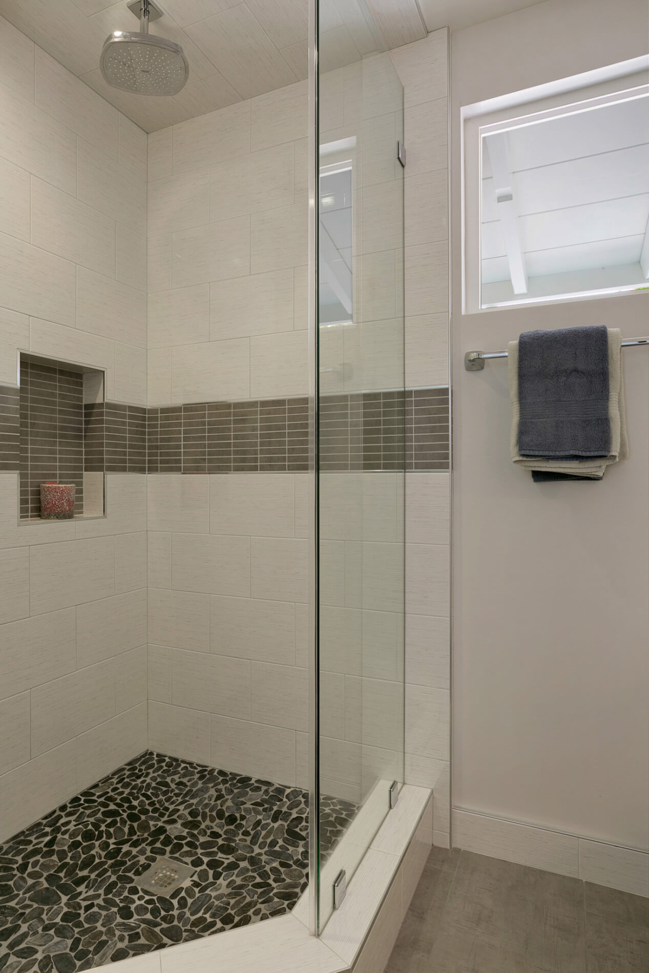 Pebble On Shower Floor Design, Custom Shower Design, Design Build Remodeling Services