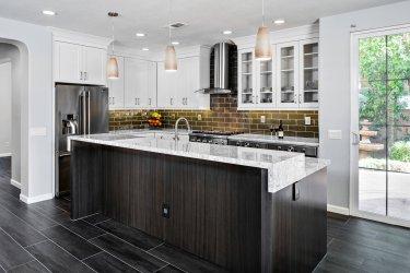 Large Kitchen Remodel with Green glass Back Splash, Kitchen Remodel in Orange County, Dark Floor Kitchen Remodel Orange County,