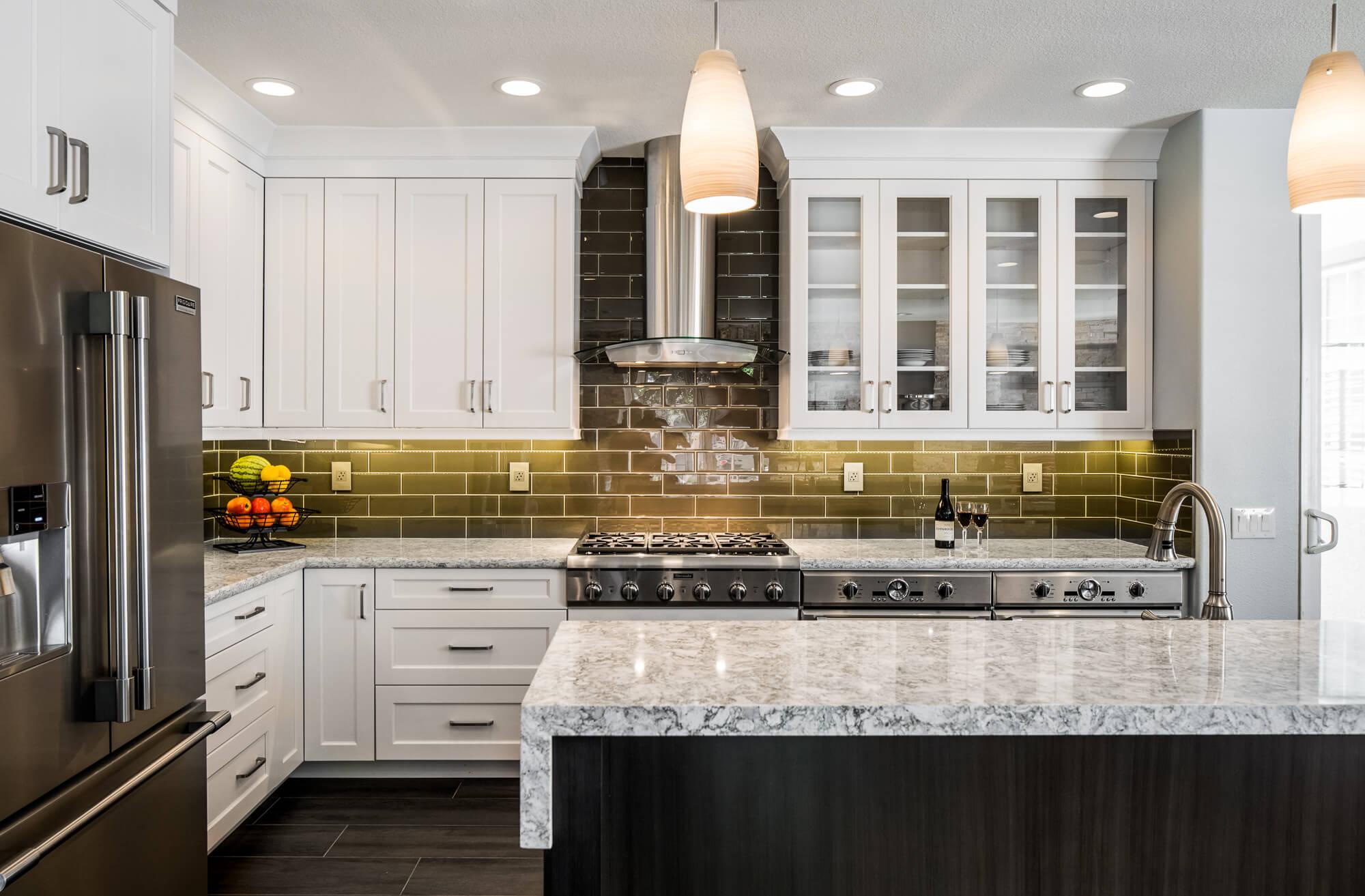 Green Backsplash with White Countertop, Unique Kitchen Design, White Kitchen Cabinets with Green Back Splash