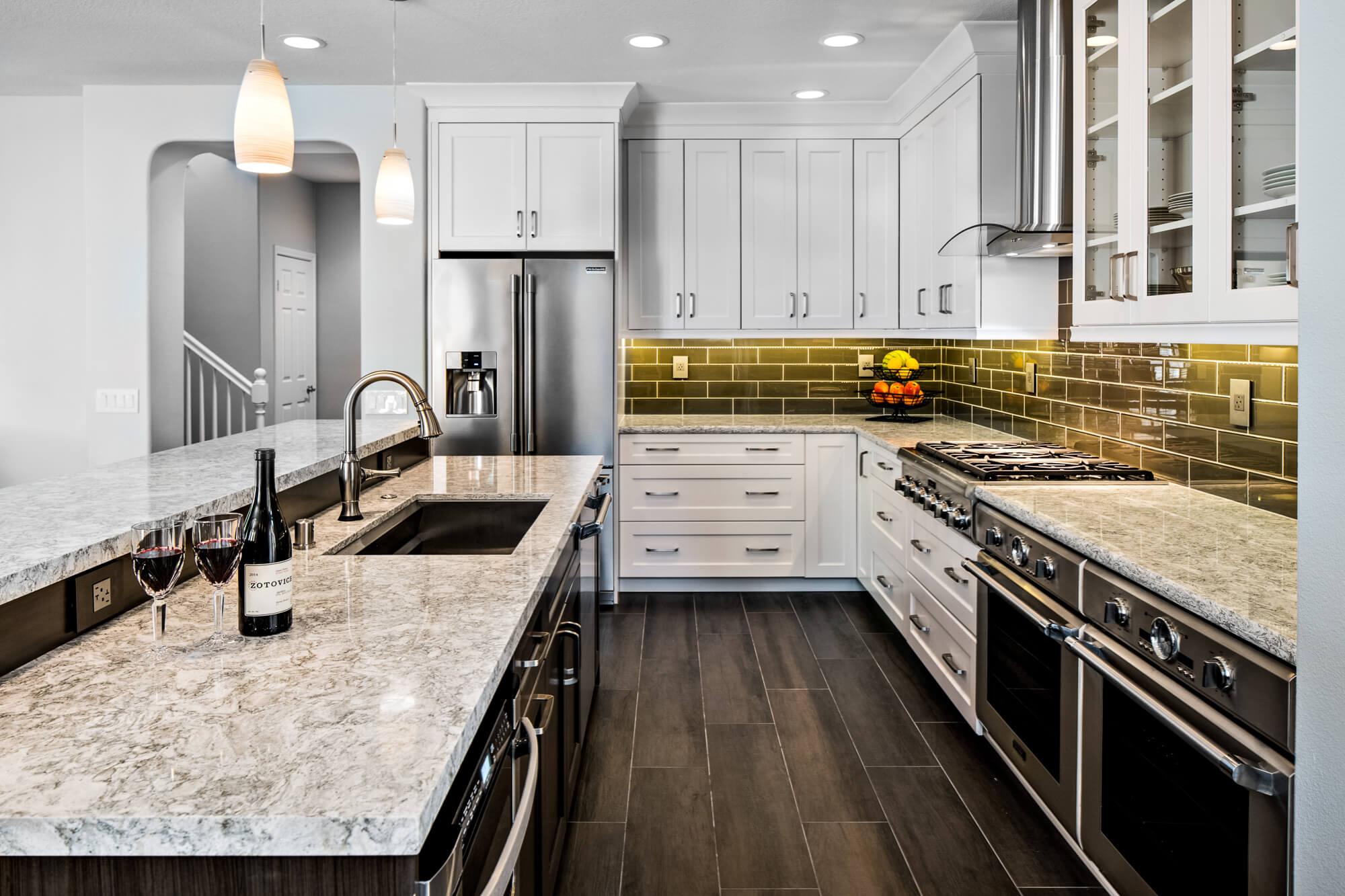 Two Toned Kitchen Back Splash, Subway Tile Backsplash, Orange County Kitchen Remodel