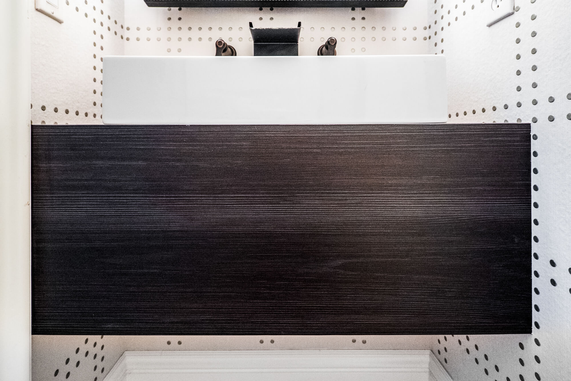 Floating Vanity in Powder Bathroom, Stylish Floating Vanity in Powder Bathroom, Powder Bathroom Remodel in Orange County