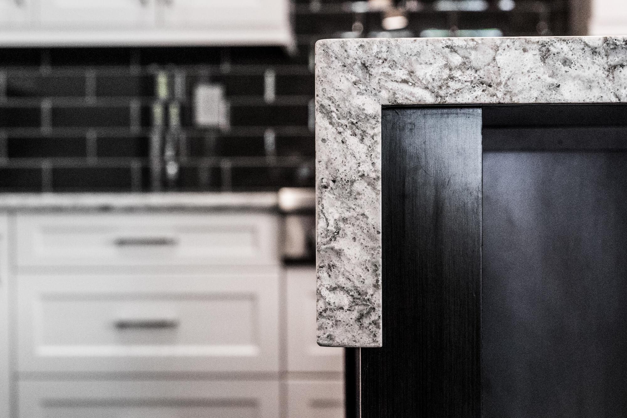 Kitchen Counter Top Details, Half Waterfall Kitchen Counter Top, Custom Kitchen Counter Top Design