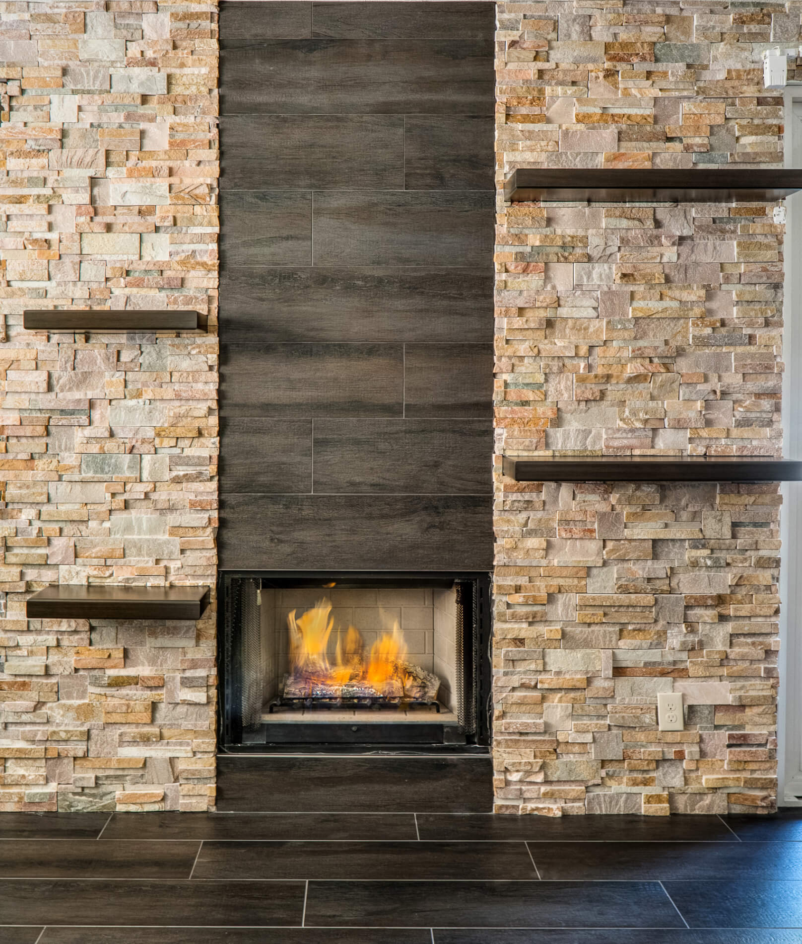 Stackstone Fireplace with Floating Shelves, Stack Stone Fire Place, Fireplace Refacing Orange County