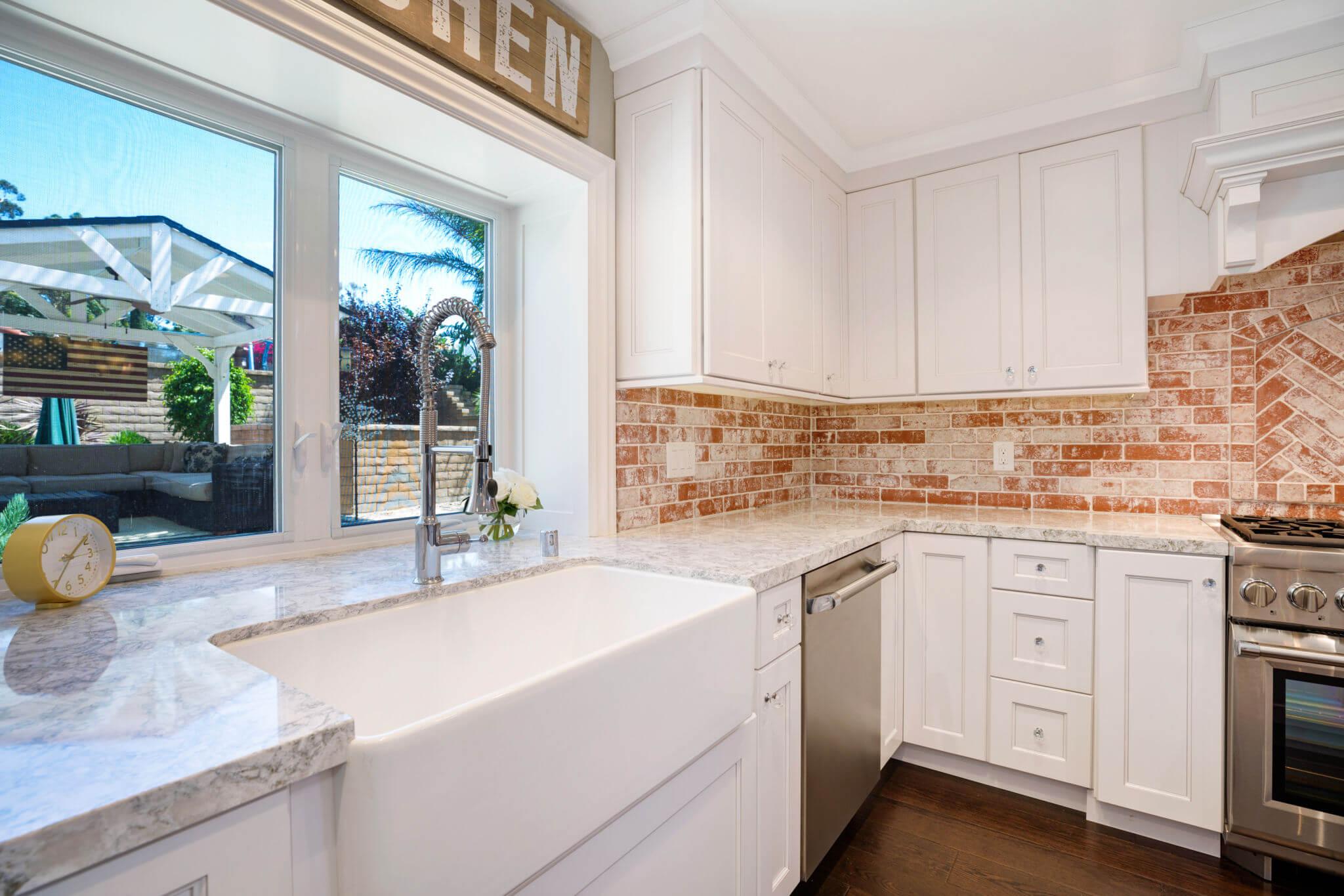 Orange County Kitchen Remodel, Custom Brick Backsplace Orange County
