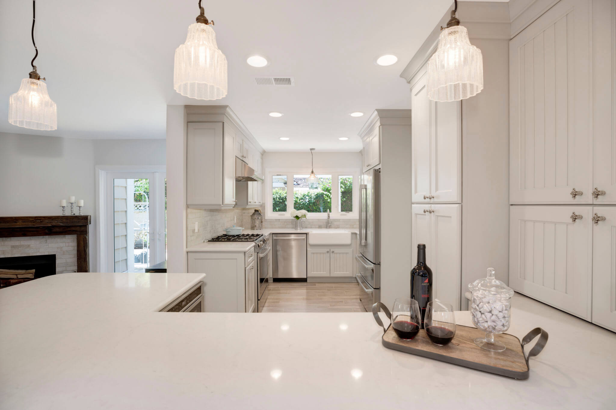 Gray Kitchen With White Countertop, Custom Gray Kitchen, Luxury Gray and White Kitchen Remodel