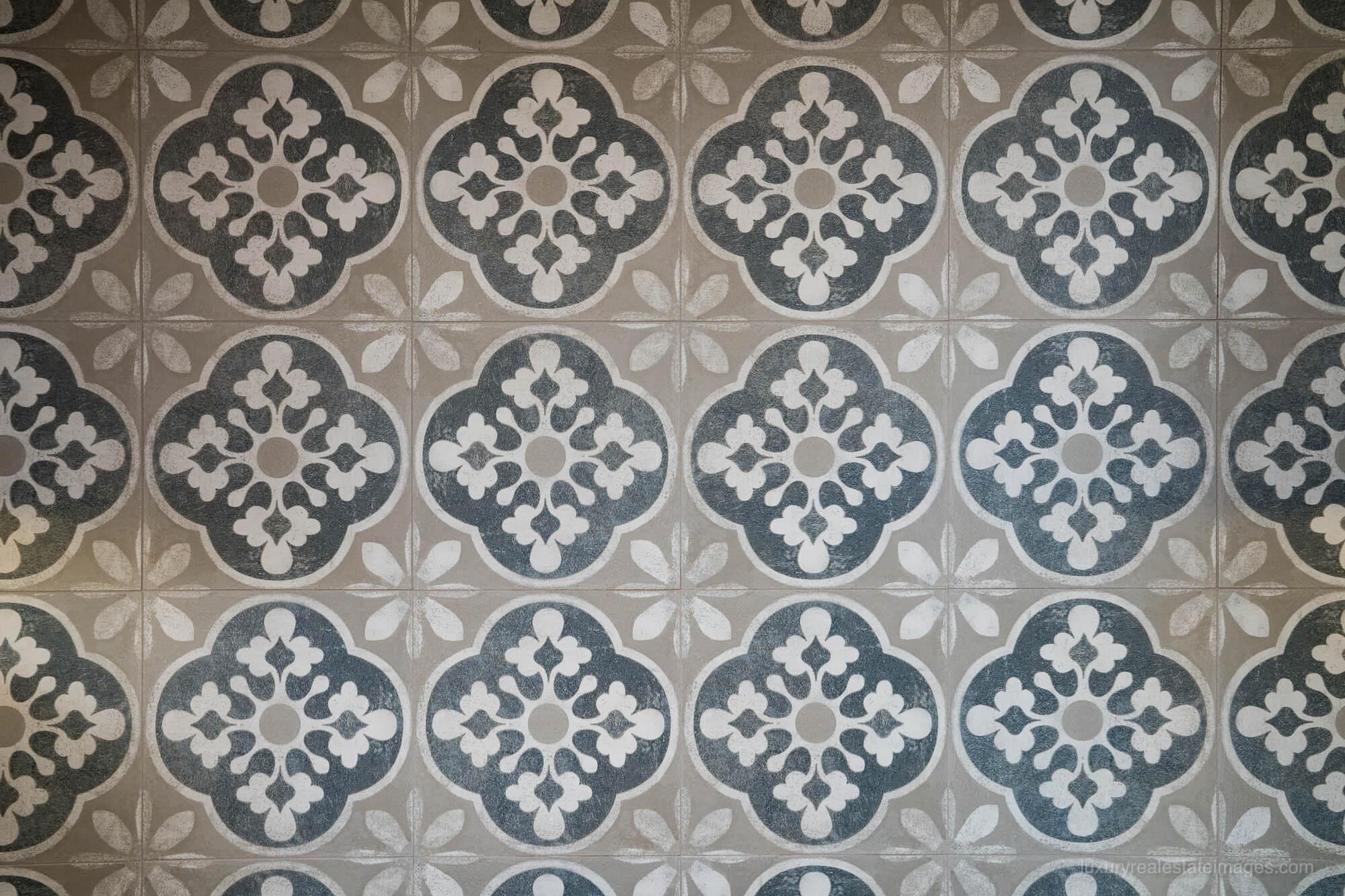 concrete tile patterned backplash