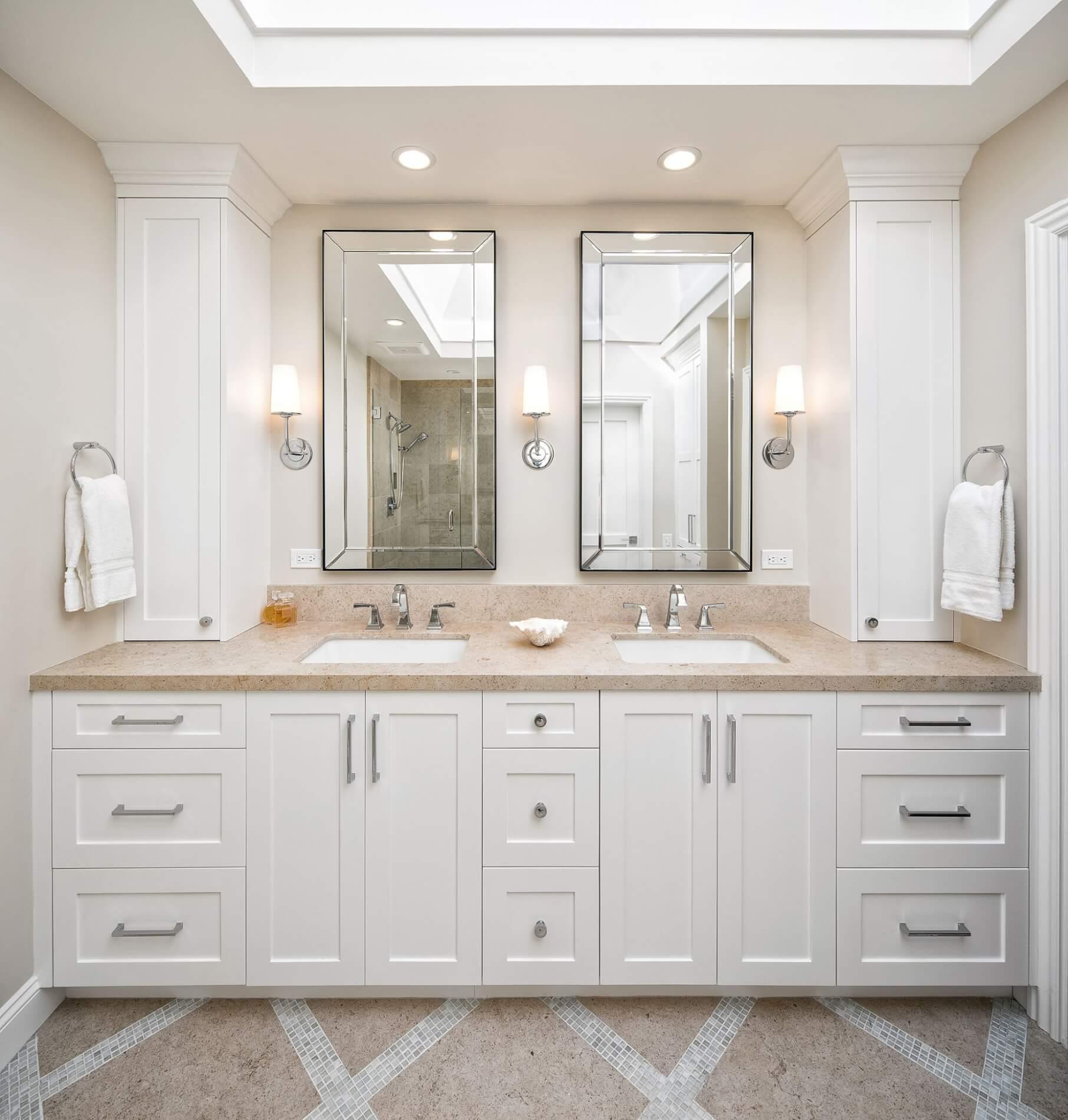 dual sink master bathroom vanity with lots of storage