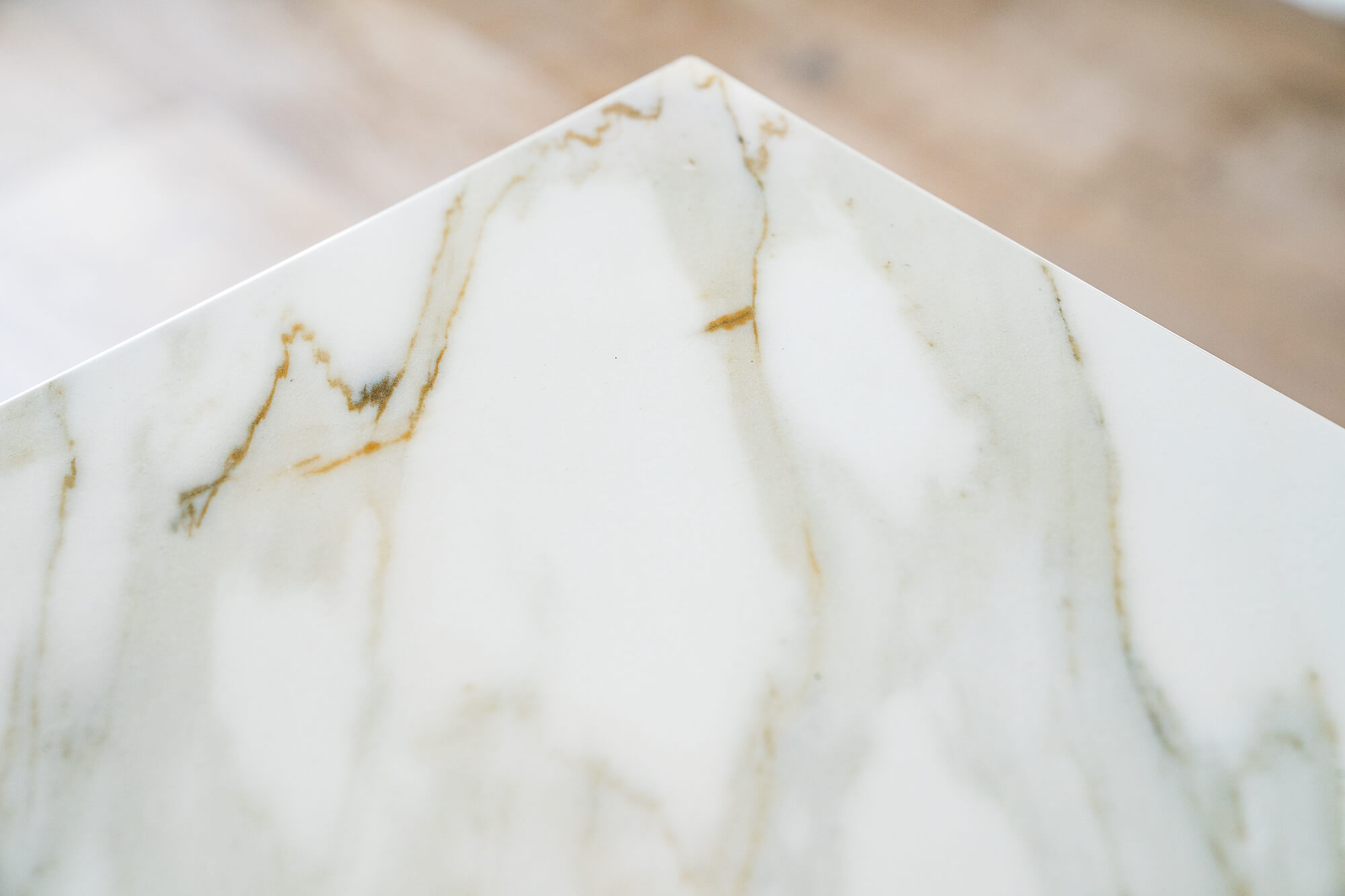 white and gold countertop detail