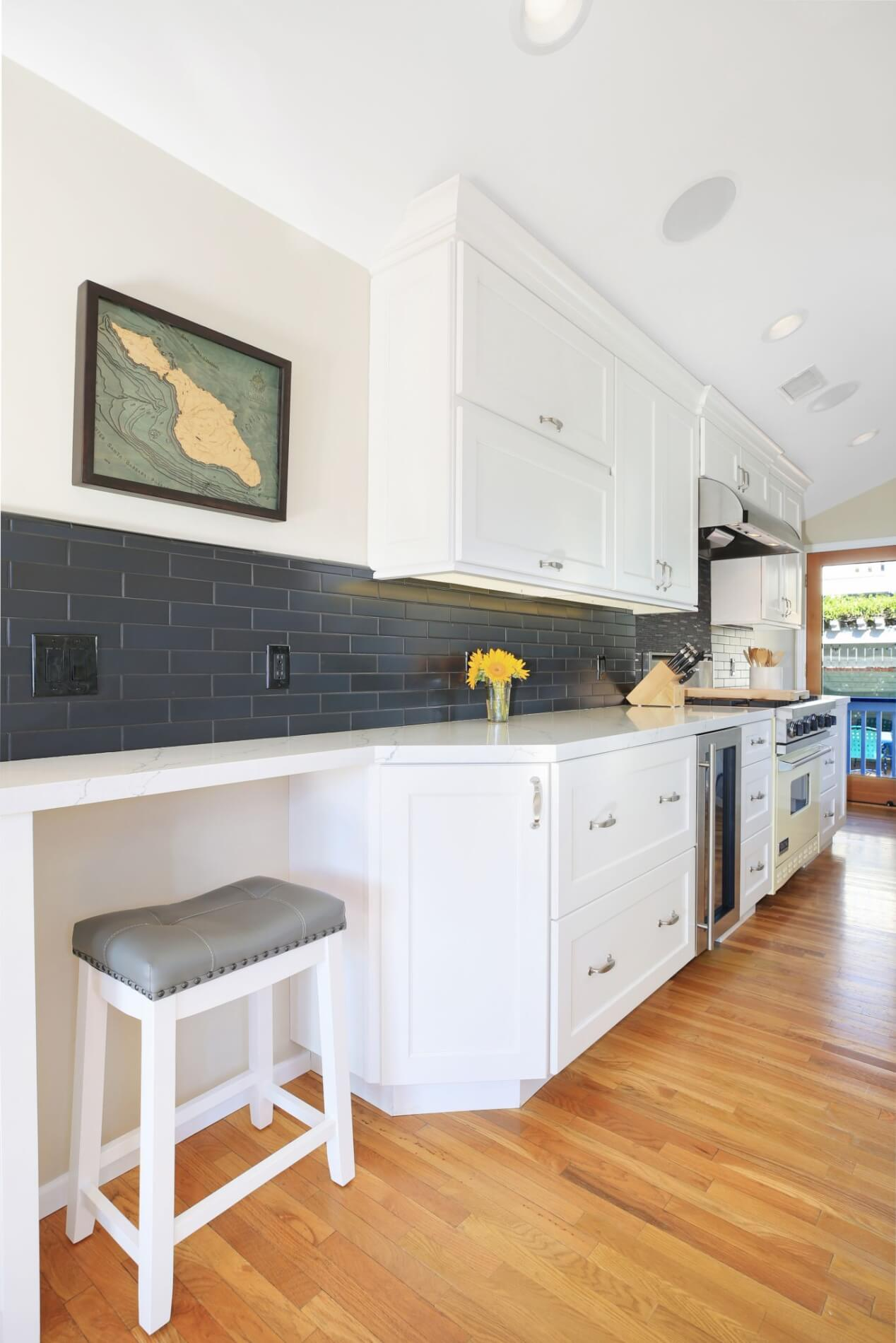 galley style kitchen with seating area