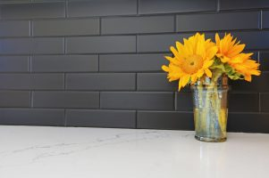 matte black backsplash with white countertop in kitchen