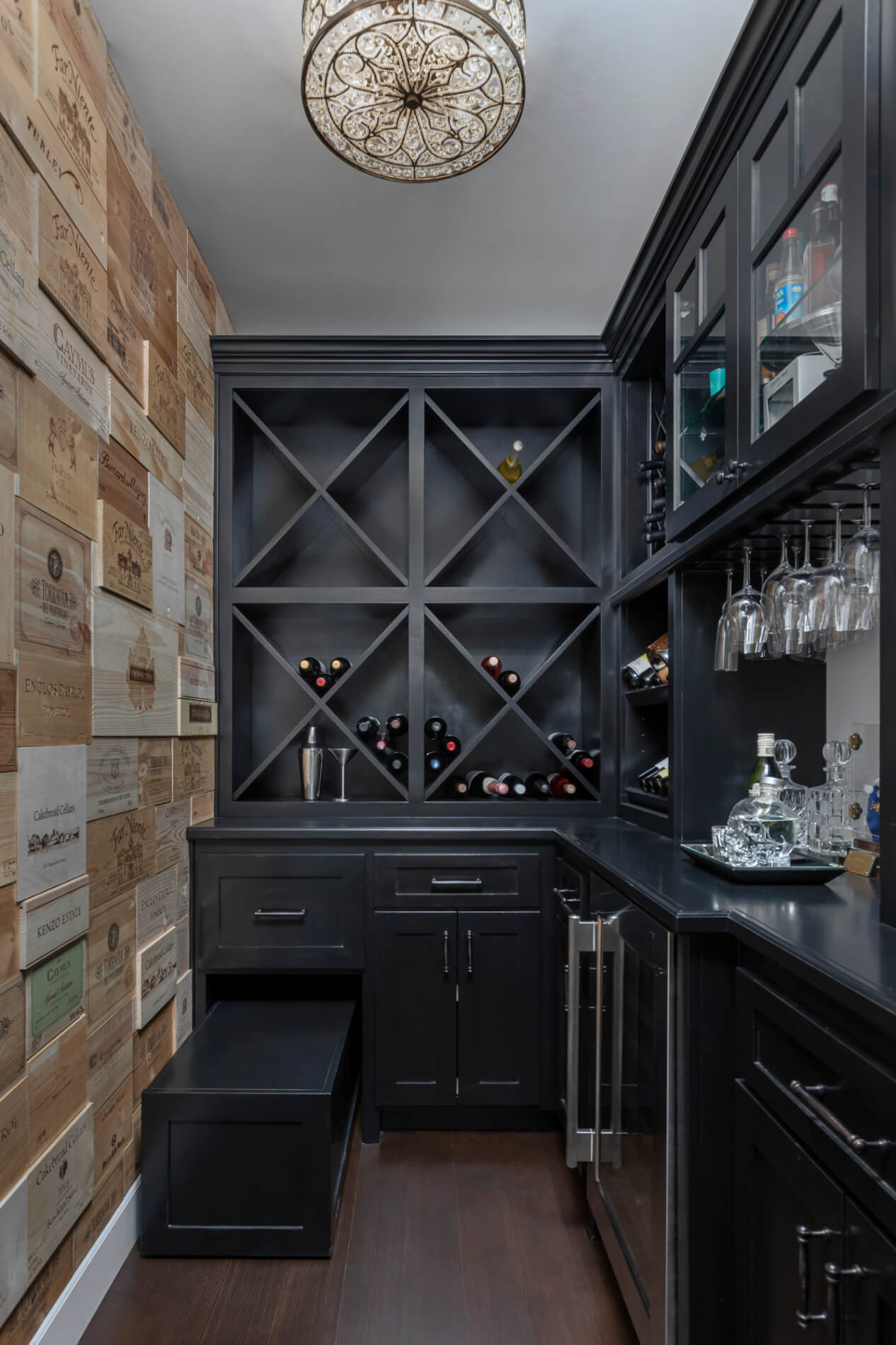 wine storage in a butlers pantry