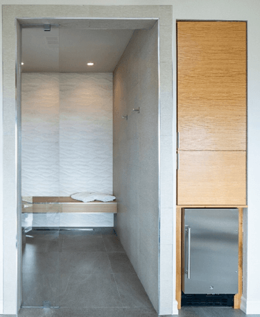 Steam room in remodeled bathroom remodel.