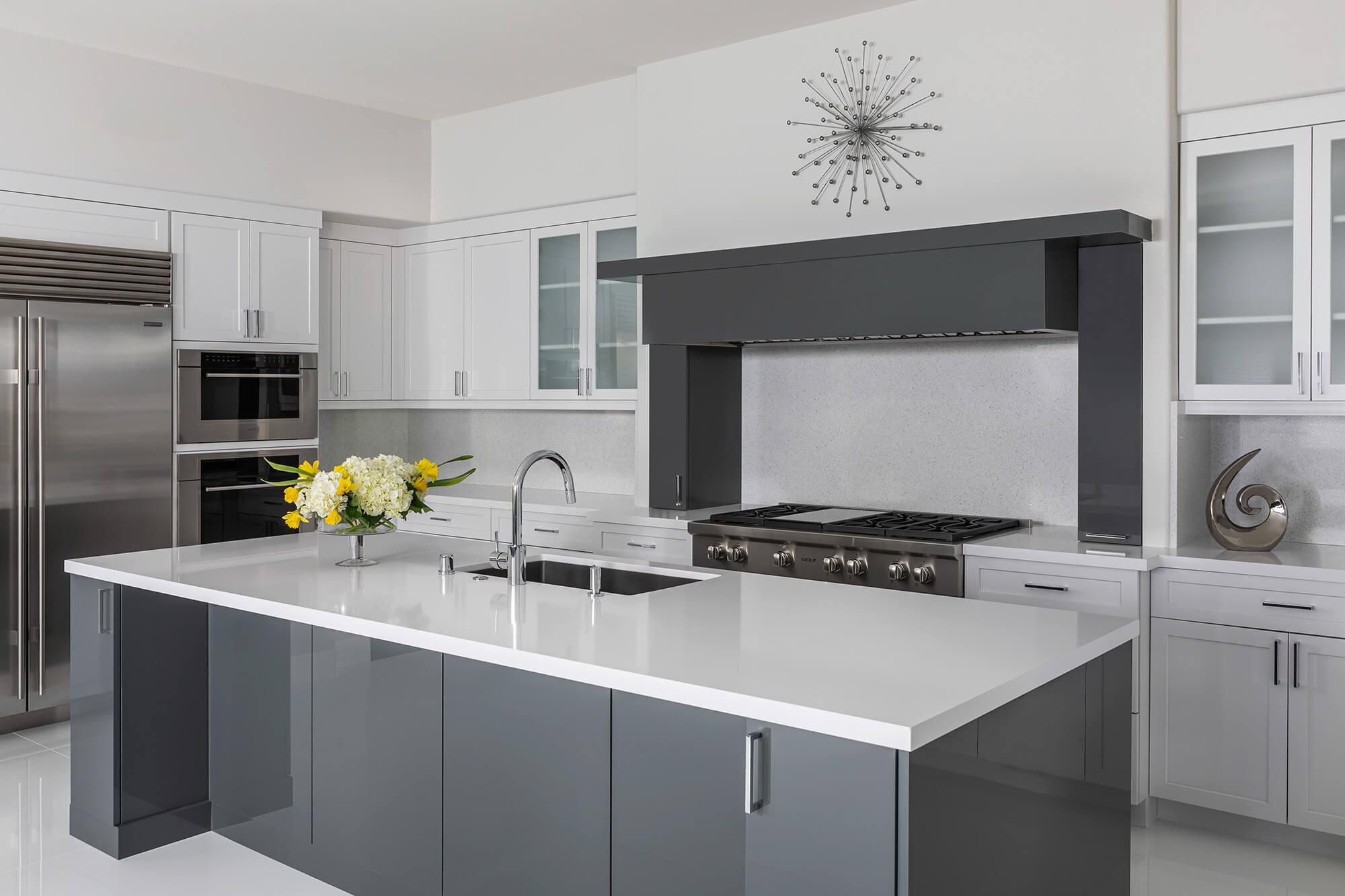 modern custom built-in cabinets make this kitchen shine.