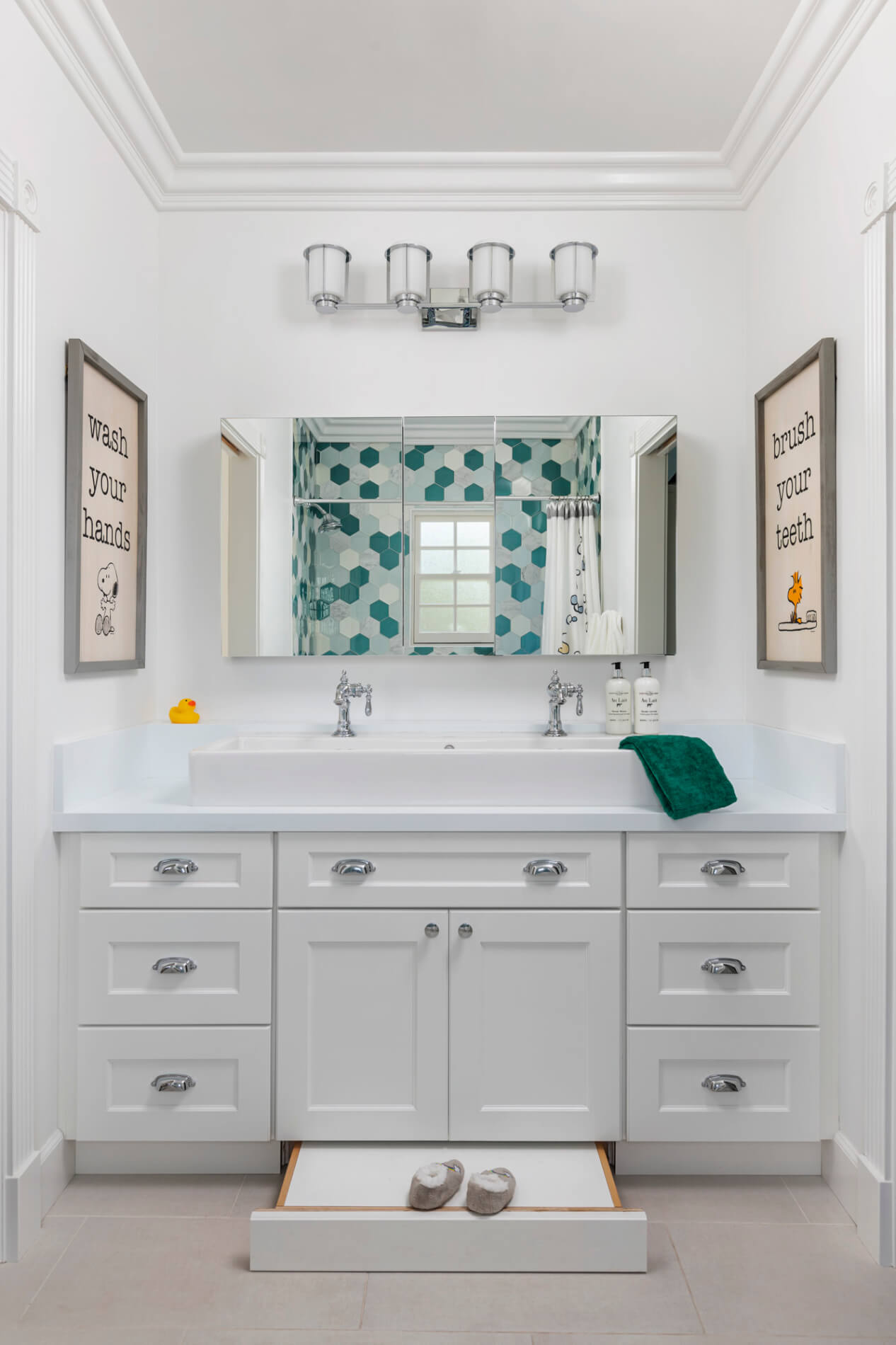 kids' bathroom with pull out step