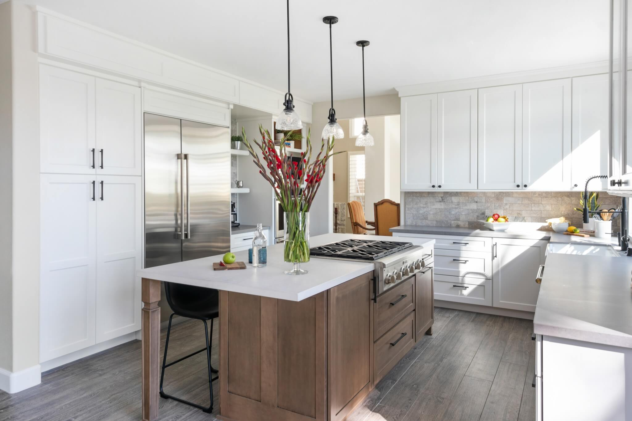 Grey-kitchen-remodel-with-wood-elements