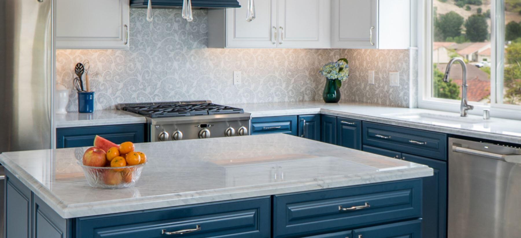 Marble countertops in kitchen remodel