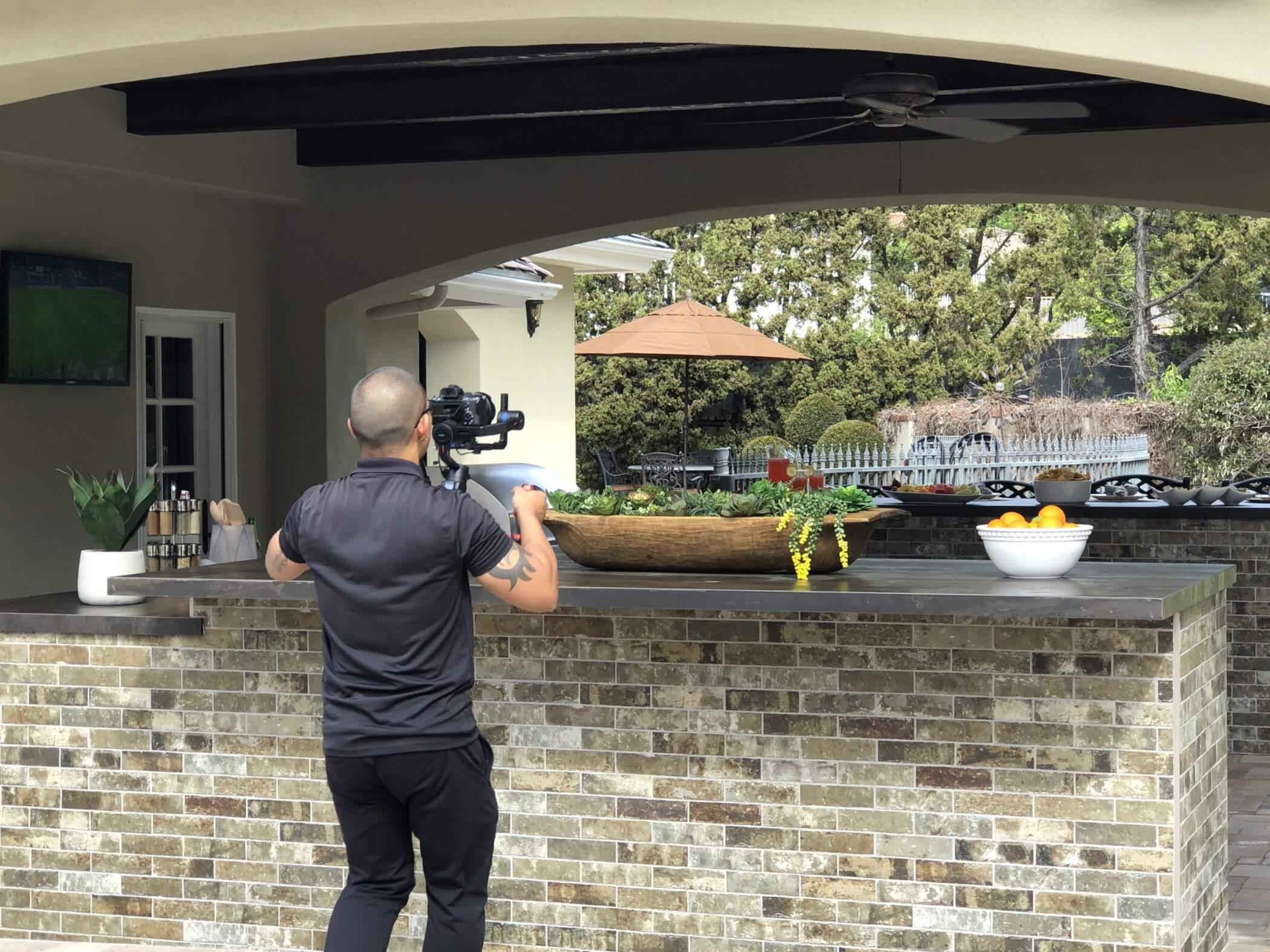 Behind the scenes outdoor kitchen design photo shoot