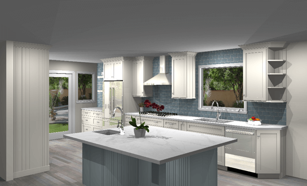 3D color rendering for Orange County kitchen remodel