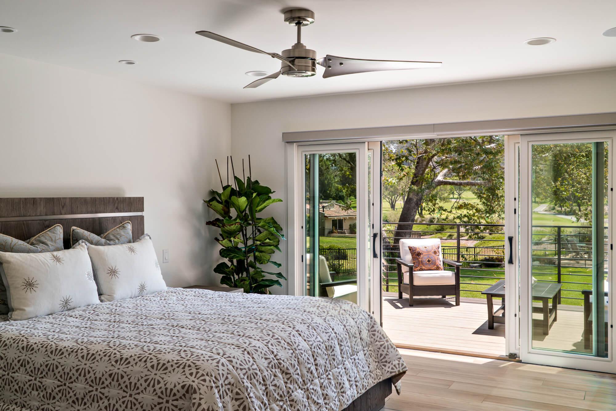 Bedroom with sliding patio door