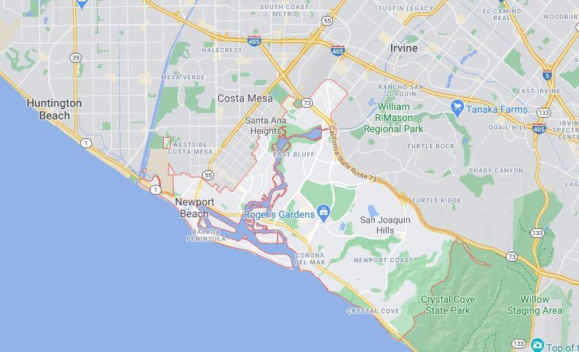 Map of Newport Beach