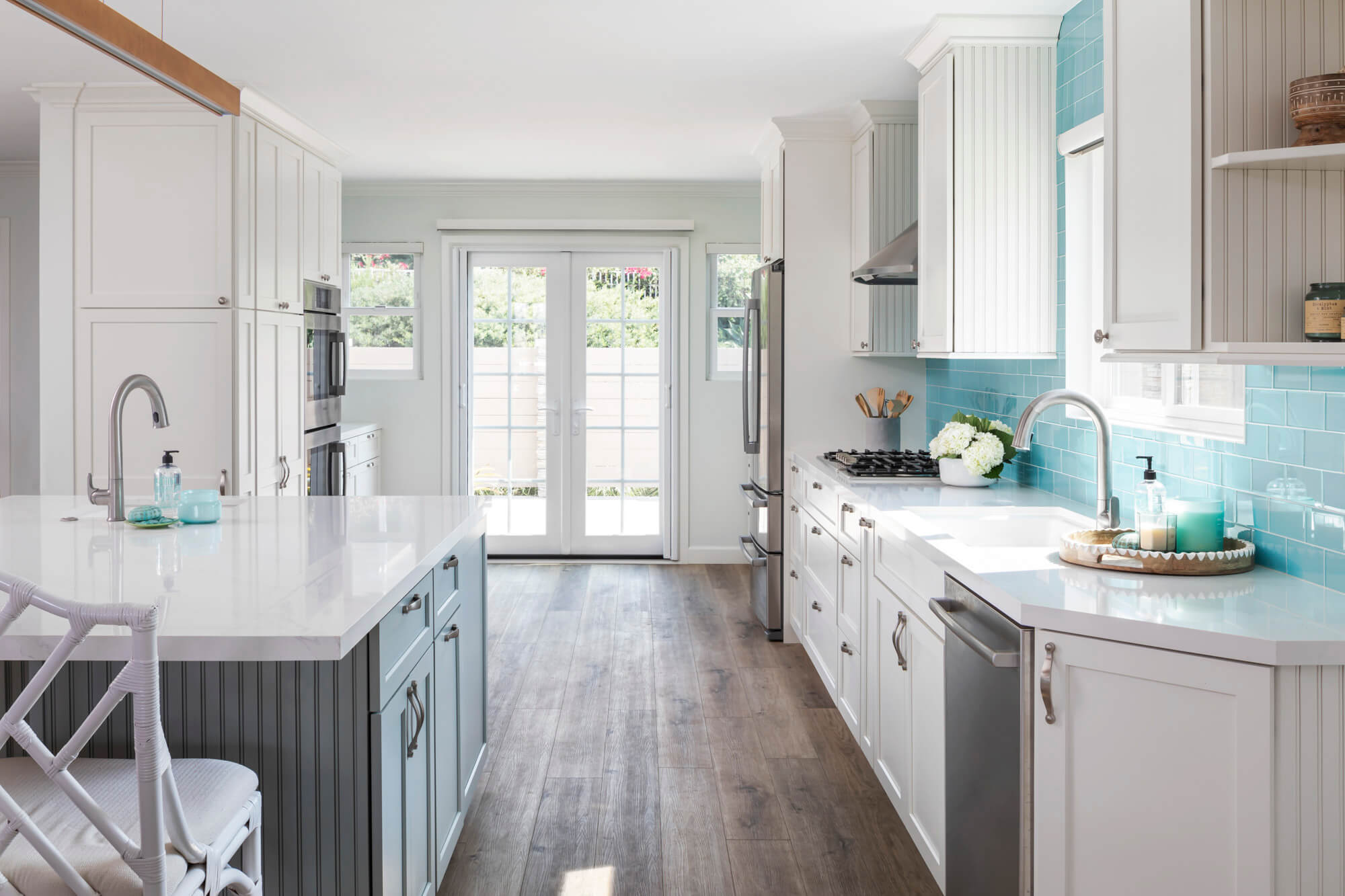 Kitchen leading to French doors