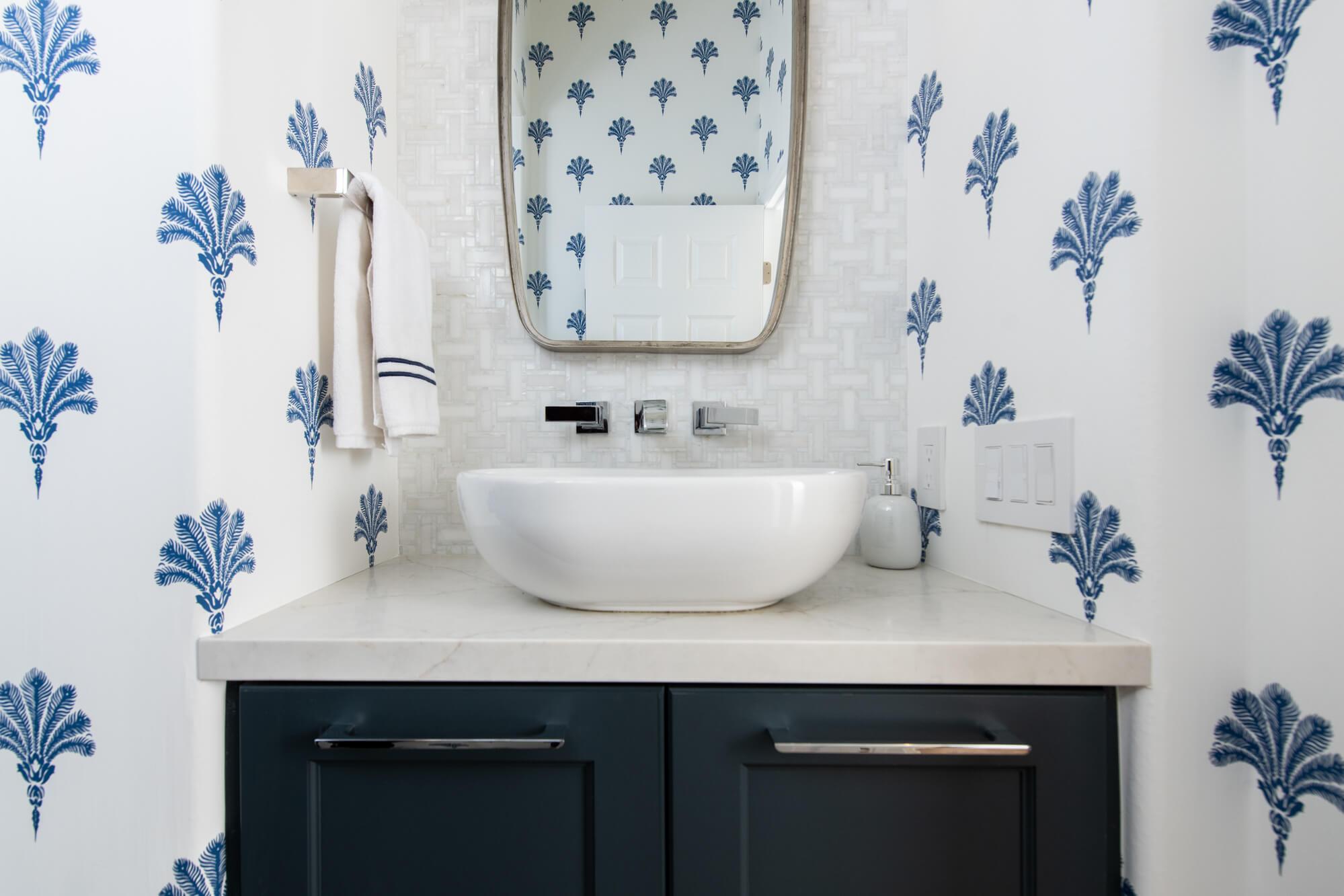Patterned-wall-paper-in-powder-Rancho-Santa-Margarita-powder-bathroom-remodel