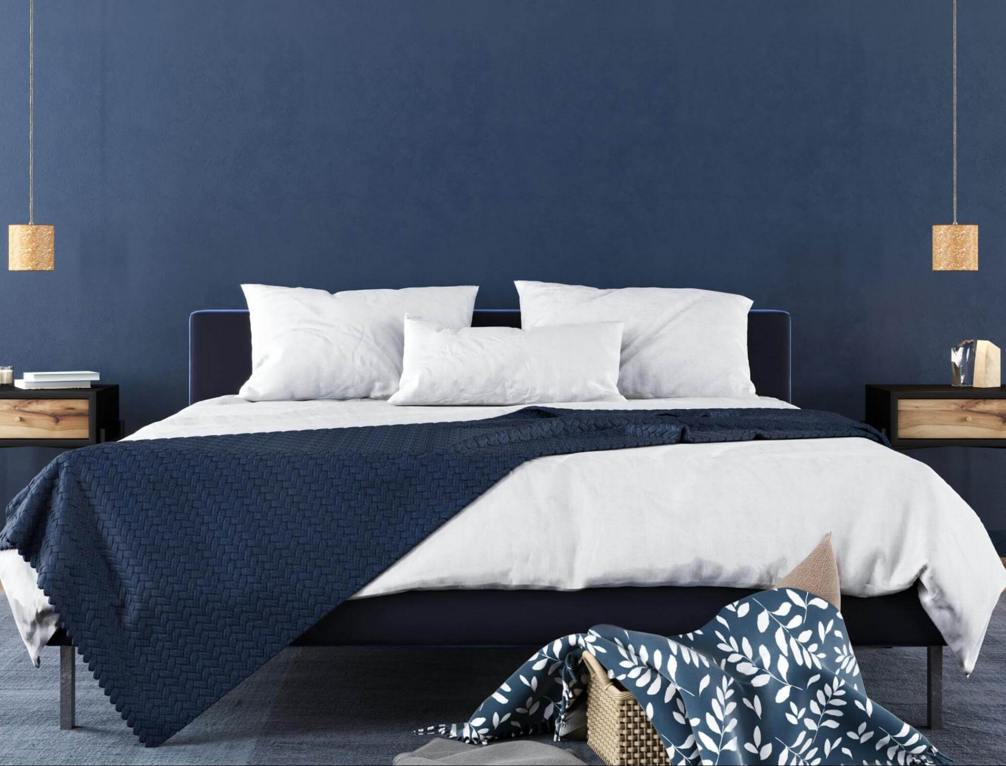A blue and white bedroom.