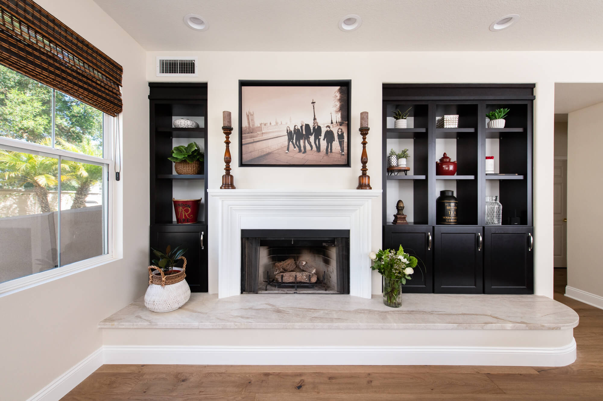 Built-in cabinetry at fireplace