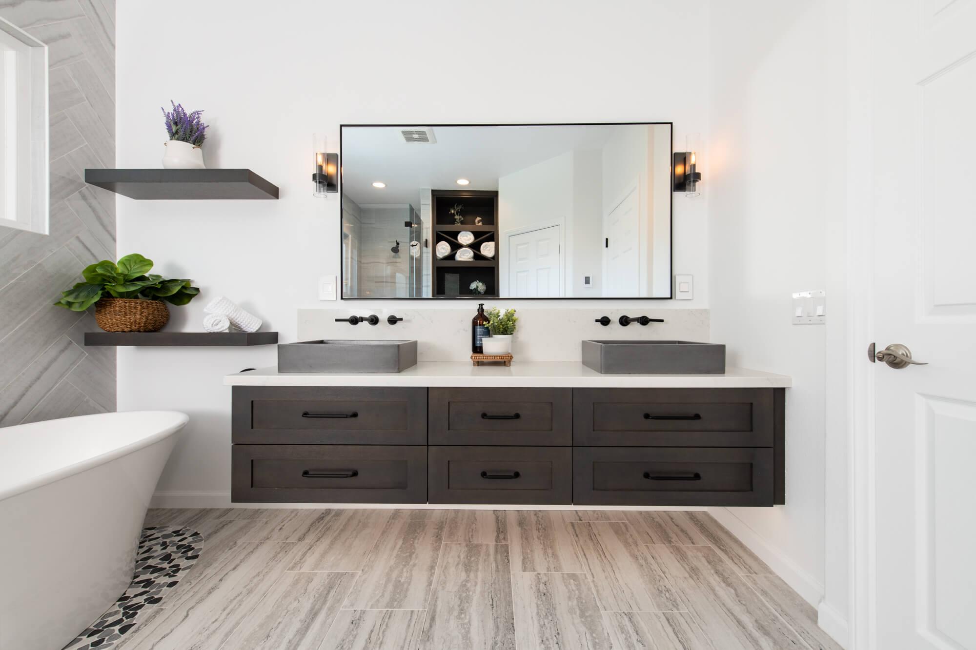 Floating bathroom vanity remodel with undercabinet lightingremodel
