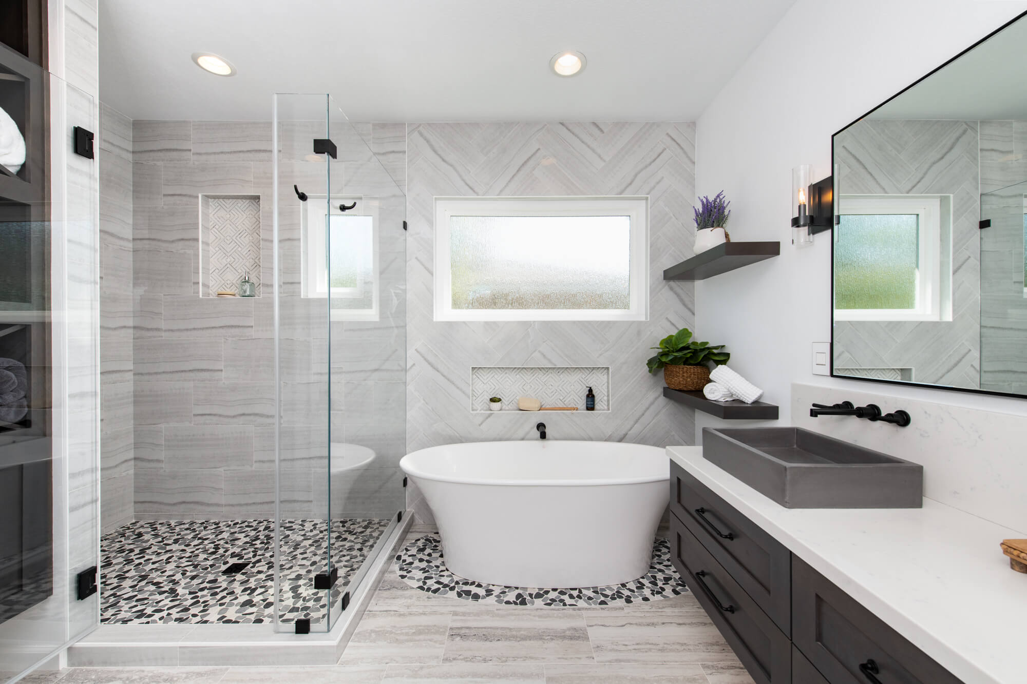 Master bathroom remodel with modern design elements