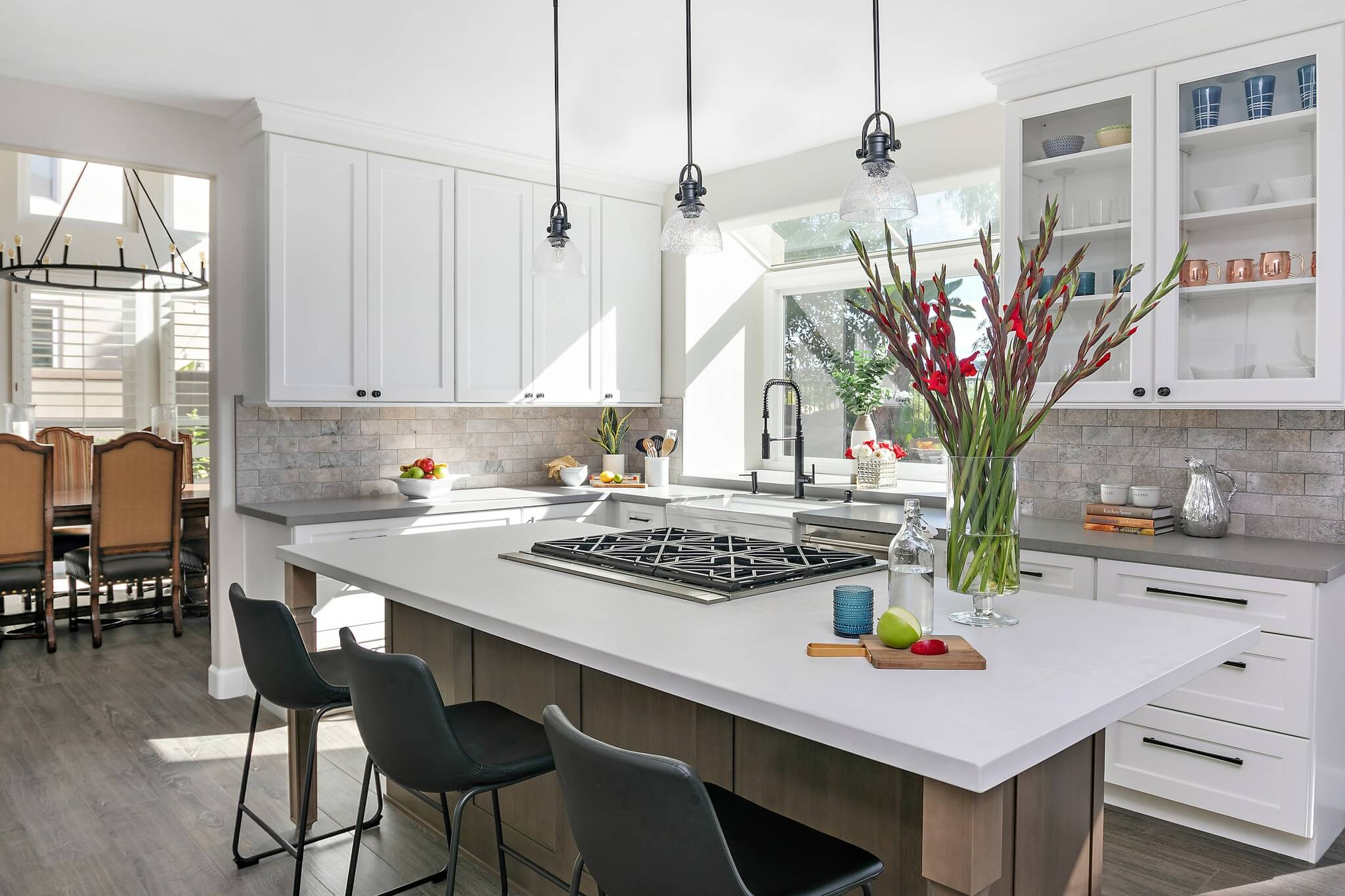 Kitchen island with view of dining room