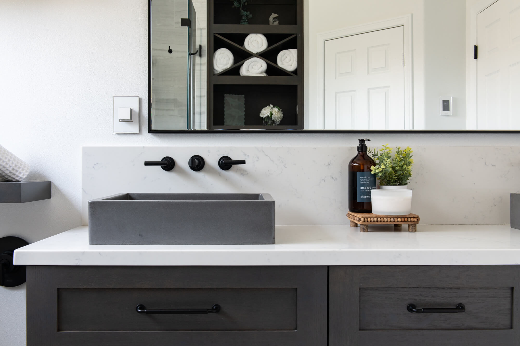 Convenient Pop Out Electrical Outlet in Bath Remodel