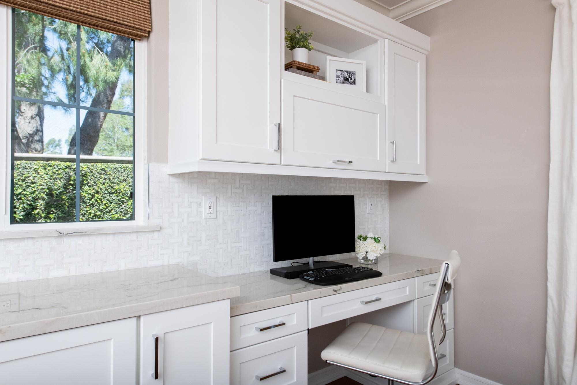 Desk area in a kitchen remodel.