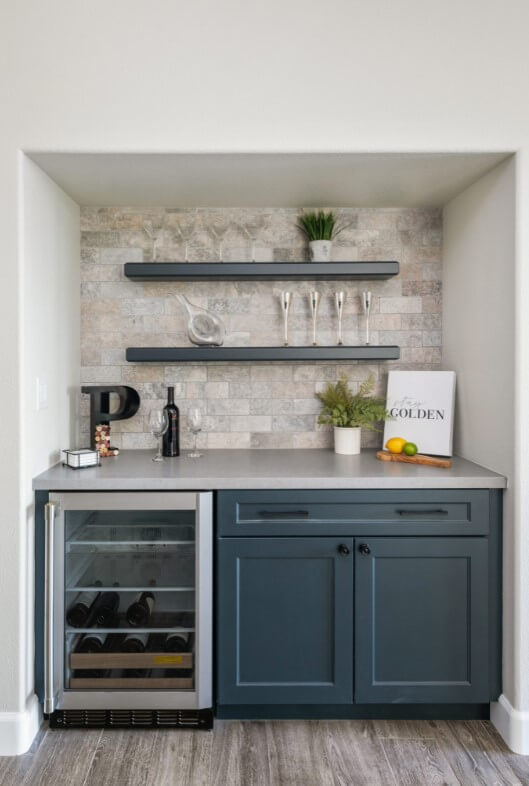 Butler's pantry with open shelves and wine fridge