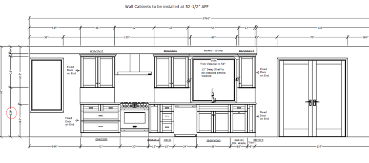 Black and white cabinet elevations for kitchen remodel