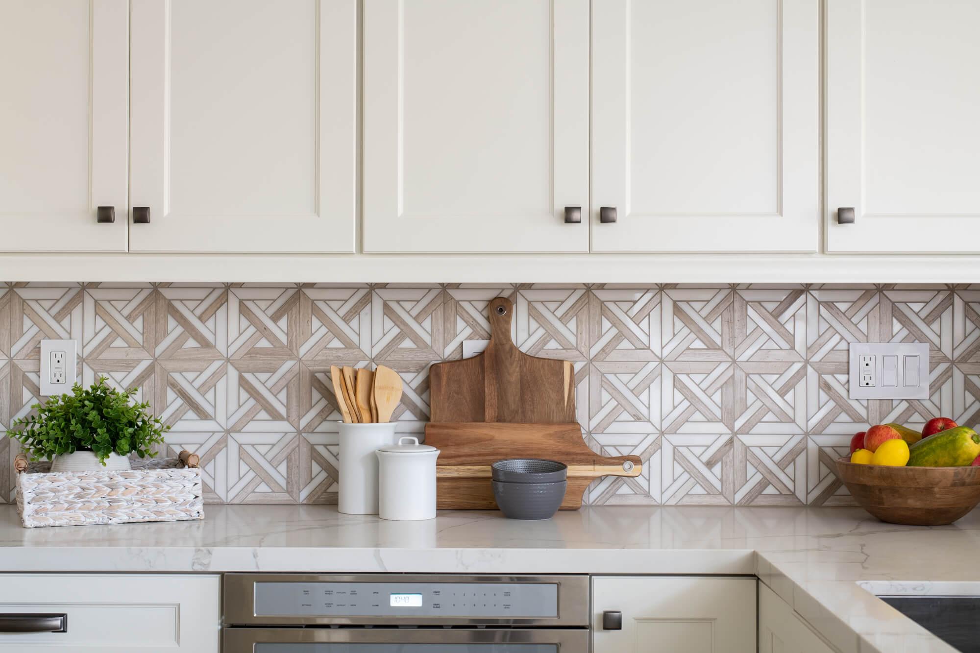 Emser Marble Mosaic Tile Backsplash in Kitchen Remodel