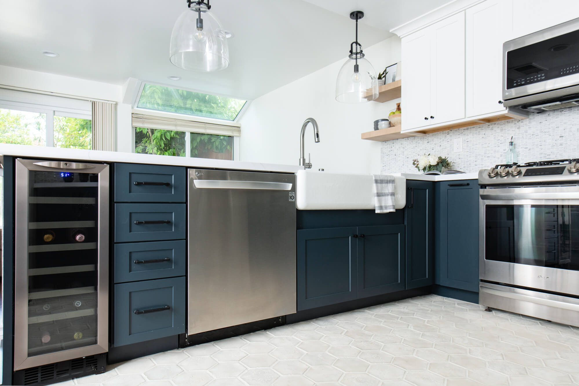 Kitchen remodel with Kemper maritime cabinets with small beverage center