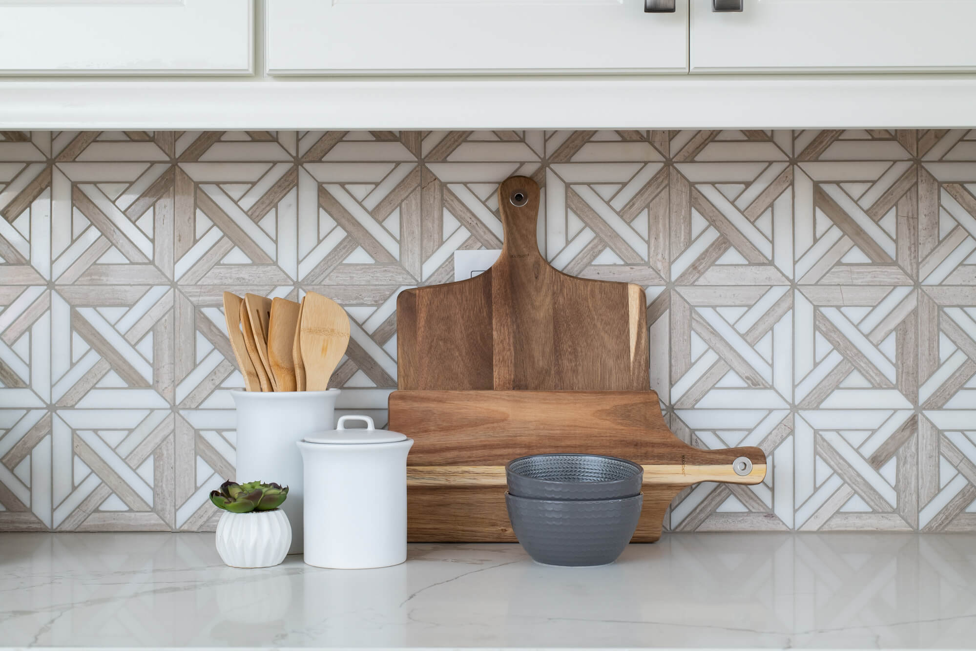 Marble Mosaic Tile Backsplash With Geometric Design in Kitchen Remodel
