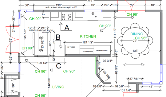 New floorplan for structural kitchen remodel