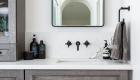 Pebble Stone Shower Flooring in Bathroom Remodel