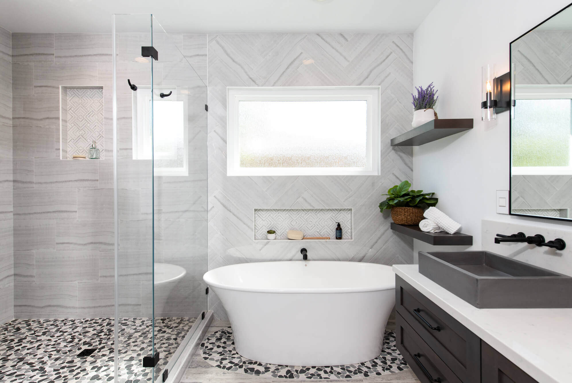 athroom with white and brown accents