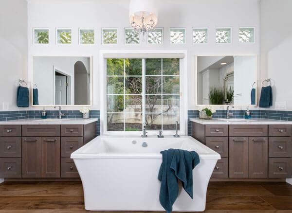 a bathroom with a large tub