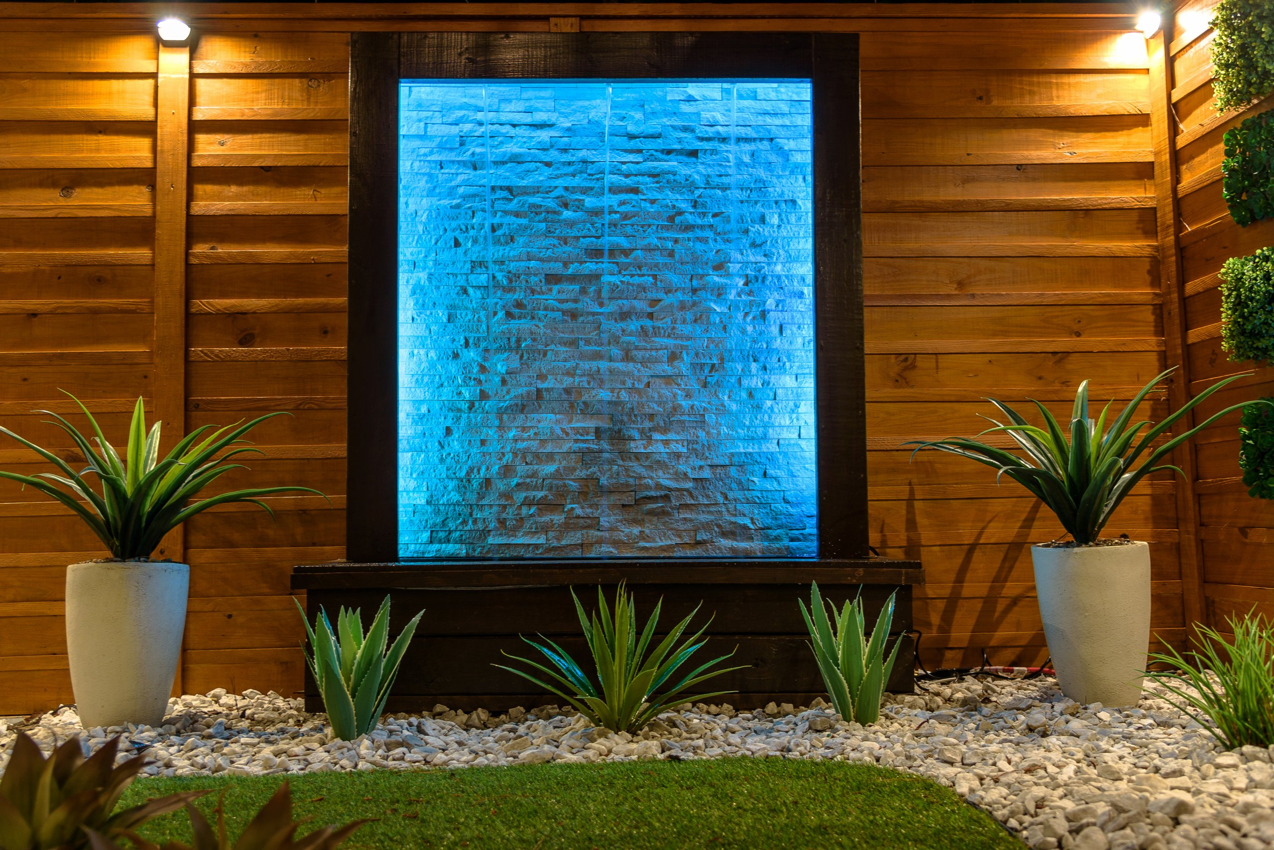 Backyard design with water feature