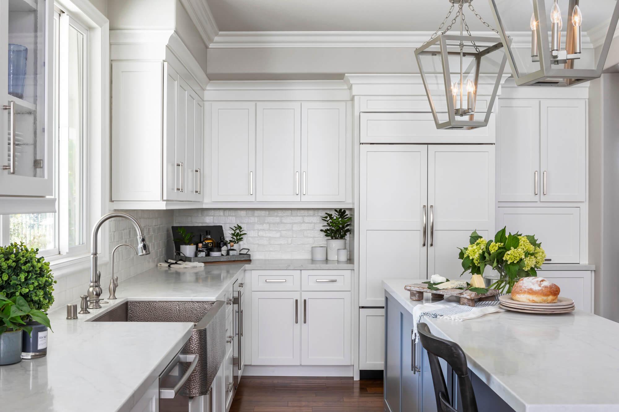 White kitchen and subway tile backsplash